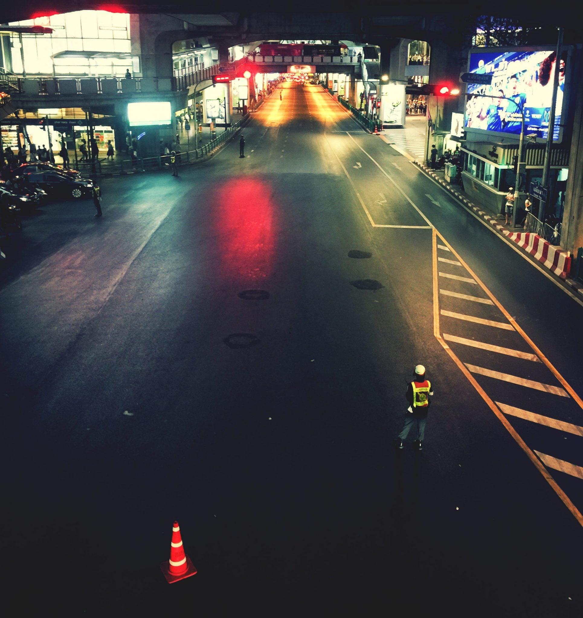 Leergefegte Straßen in Bangkok